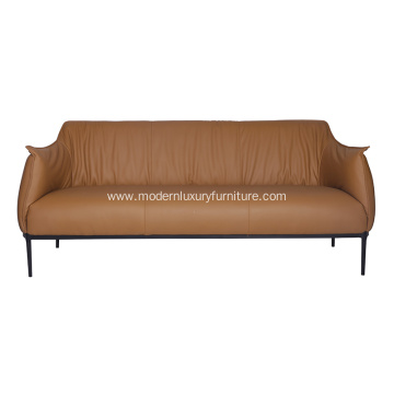 Archibald Brown Leather Three-Seater Sofa